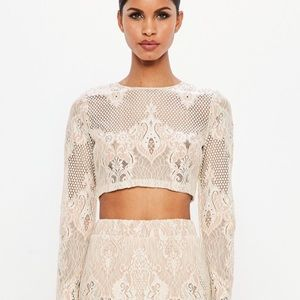 Peace & Love: Nude and Cream Lace Crop Top
